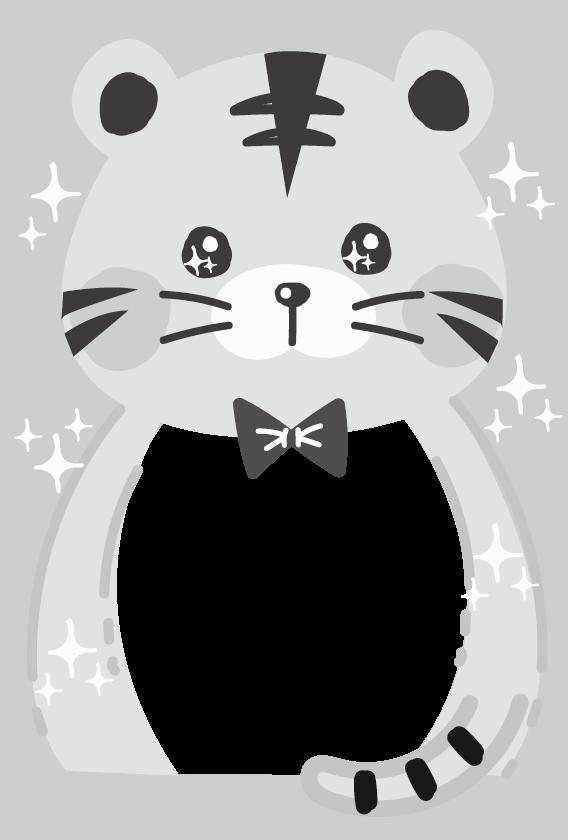 年賀状デザインのイラスト❽(白黒)