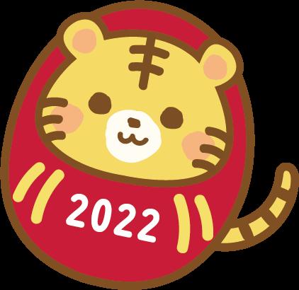 2022年賀状パーツ【だるま寅 右傾き 】