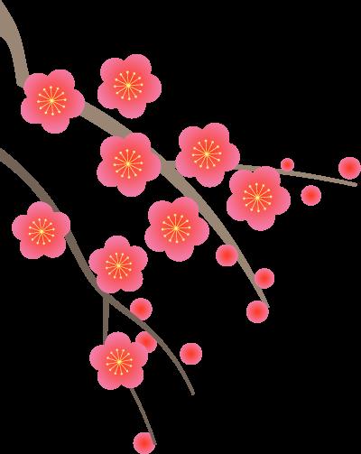 2022年賀状パーツ【梅の花❷左】