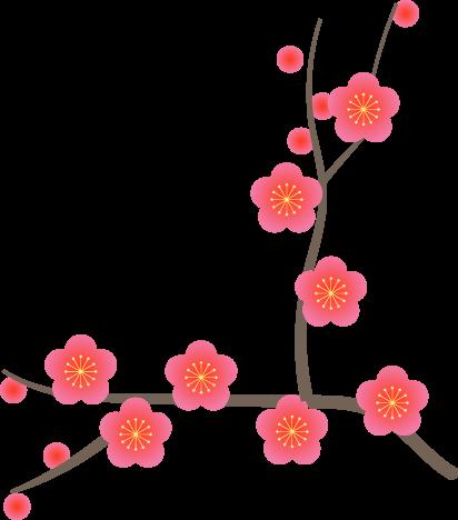 2022年賀状パーツ【梅の花❷右】イラスト