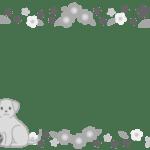 花のフレーム(犬・猫入り)グレー